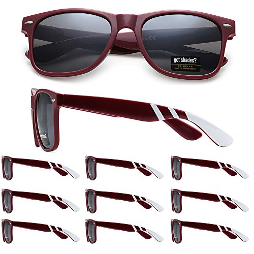 WHOLESALE RETRO BULK LOT TEAM SPIRIT STRIPED PROMOTIONAL SUNGLASSES - 10 PACK (Maroon | White Stripes | Smoke Lens, - School Sunglasses