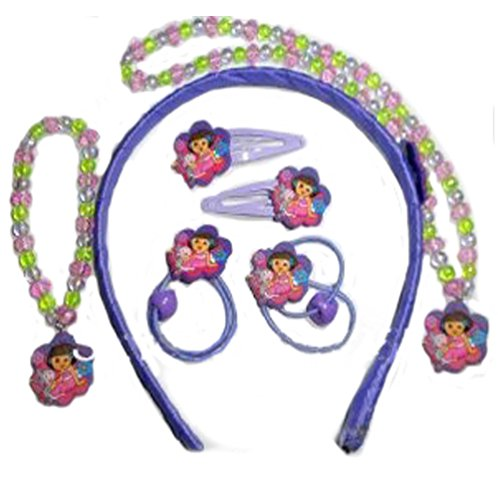 V G S Eternity Fashions Fashion Jewelry ~ Purple Dora the Explorer Necklace, Bracelet, Headband, Clips, Hair Tie Set (S 2459 A)