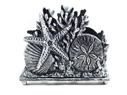 Antique Silver Cast Iron Seashell Napkin Holder 7 Inch - Seashell Decoration - Beach Kitchen Decorating