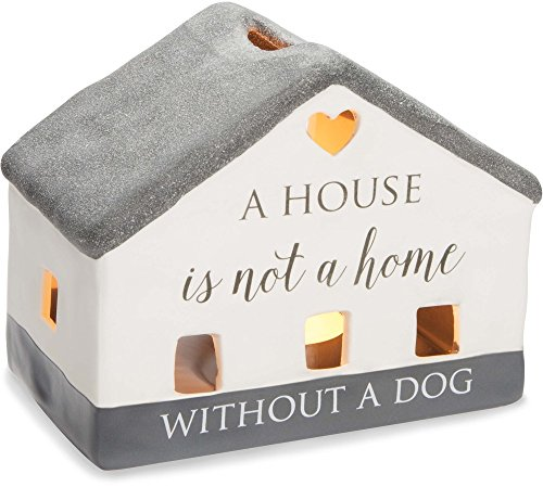 Pavilion Gift Company 86204 Love Lives Here - A House Is Not A Home Without A Dog Porcelain House Candle Holder
