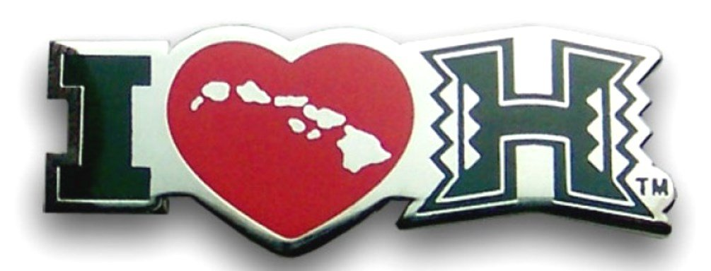 K Chang Hawaii University Lapel or Hat Pin I Love UH Silver, Green One Size