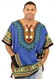 King-Sized Traditional Print Unisex Dashiki Top - Up to 68'' Chest - Available in Several Colors, 3X, Blue