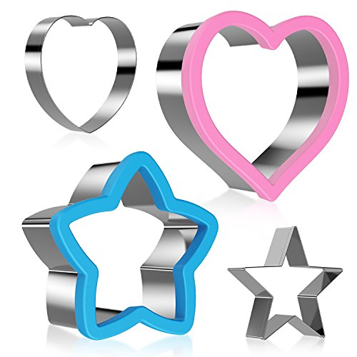 Sandwich cutter for kids, 4 Pieces Stainless Steel Heart shape & Star shape Cookie Cutter Set for Kids Suitable for Cakes and Cookie