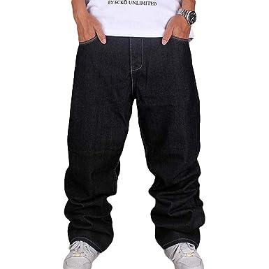 19d347e551 Men Vintage Hip Hop Baggy Jeans Denim Street Dance Skate Pants Straight Fit  Teenage Boys  Amazon.co.uk  Clothing