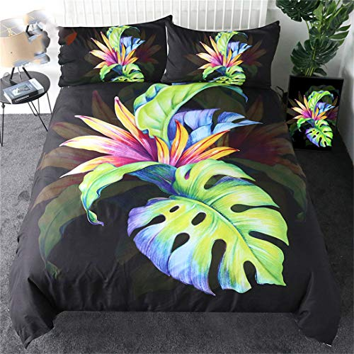 Tropical Duvet Cover Set Green Leaf Bedding Set Bird of Paradise Quilt Cover Strelitzia Bedspreads US King