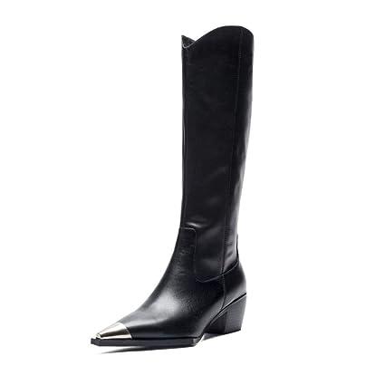 cf0d353506cd9 Amazon.com: HEmei Women's Fashion Boots Fall/Winter Leather Long ...