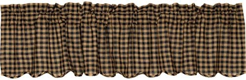 VHC Brands Black Check Scalloped Valance 16×72 Country Curtain