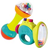 Set Of Two Colorful Educational And Interactive Toys For Babies Toddlers And Children - Dumbbell And Trumpet Rattles With Sounds And Colors For You Baby's Learning And Motor Skills Development