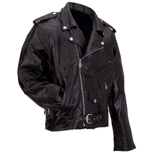 Diamond Plate Rock Design Genuine Buffalo Leather Motorcycle Jacket Black - Leather Buffalo Biker Jacket