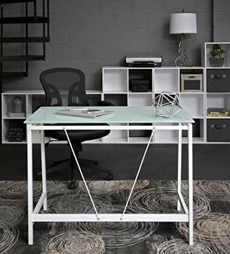 OneSpace Contemporary Glass Writing Desk, Steel Frame, White and Cool Blue - Modern and contemporary fusion design both matches and enhances any décor Makes the best use of small spaces with the working efficiency of much larger desks Ample working surface constructed of durable frosted tempered safety glass - writing-desks, living-room-furniture, living-room - 517JybegRXL -