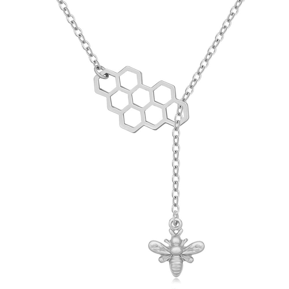 MANZHEN Geometric Bee Hive with Honey Bee Lariat Y Necklace (silver)