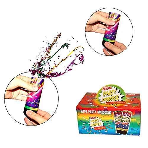 Confetti Party Poppers 12 Pack - Twist and Pop Confetti Poppers for Kids Birthday | Wedding | BBQ | Camping | Graduations - 12 Count 4 inch Confetti Popper Party Favors - Ages 3 and Up -