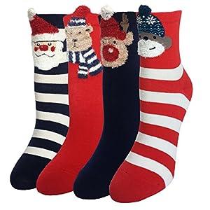 LOTUYACY Cute Animal Designe Womens Girls Casual Comfort Cotton Crew Socks 4 Pack 5 Pack