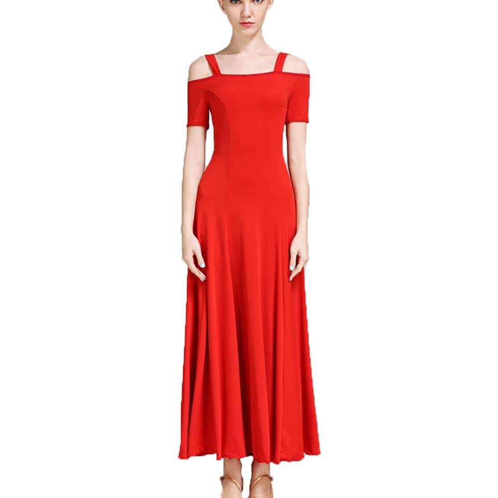 662db3828 Amazon.com: Solid Color Simple Waltz Dancing Outfit for Women Ballroom  Dance Performance Costume: Clothing