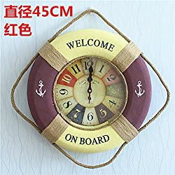 CLG-FLY Mediterranean Style Buoy Marine Style Decor Wall Clock Creative Clock Round,F,A good gift for your children