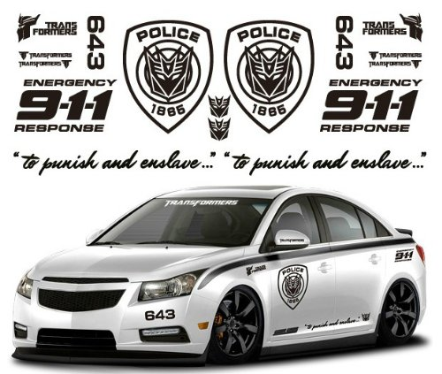 Ginovo black color car refitting 9 11 police transformers car sticker decal for mg6 k2 k5 focus cruze lancer buy online in uae