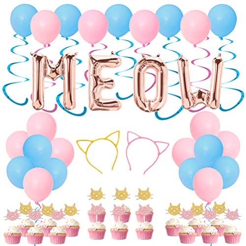JOYMEMO Cat Party Decorations Cat Ears Headband Cupcake Toppers and Hanging Swirl Decorations Meow Party Supplies for Girl Birthday Baby Shower