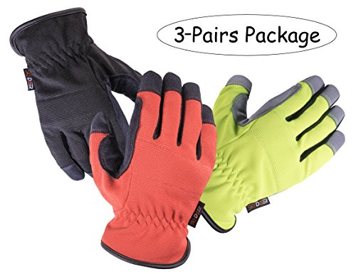 SKYDEER Armprotec Protective Synthetic Leather WorkPRO Safety Work Glove for Daily Use Like Gardening, Construction and Yard Work(3-Pairs Value Pack L)
