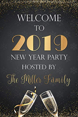 Happy New Year 2019 Sign, Sparkling, Champagne, New Year Sign, Glitter, New Years Eve 2019, NYE Decor, Welcome Sign, Holiday Signs, New Year 2019, New Year Gifts Ideas, Handmade Party Supply Poster]()