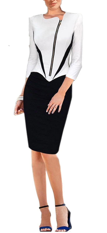 Lecheers Damen Langarm Reißverschluss Schlank Kontrast Elegant Bodycon Business Kleider Cocktail Party Kleider Gr. S-XXL