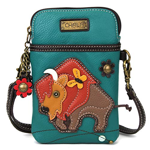 Chala Crossbody Cell Phone Purse - Women PU Leather Multicolor Handbag with Adjustable Strap - Buffalo - Turquoise