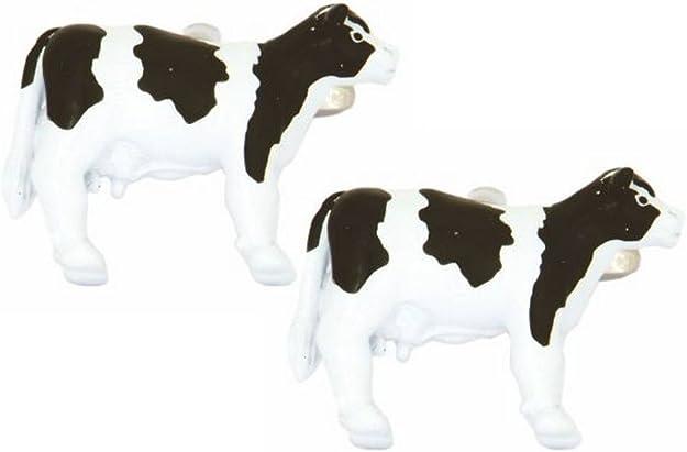 Zennor Mens Cow Cufflinks White//Black//Silver