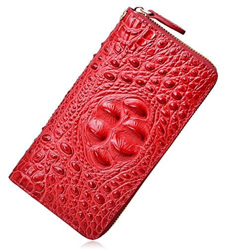 PIJUSHI Wristlet Wallet For Women Crocodile Leather Wallet Ladies Clutch Purse (8011 red croco)