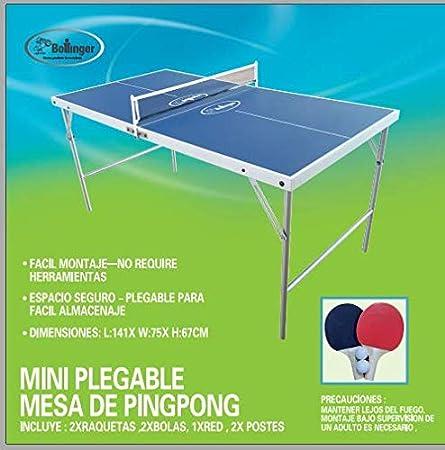 Bollinger Mini Mesa DE PINGPONG,con Dos Raquetas, Red Y Dos ...