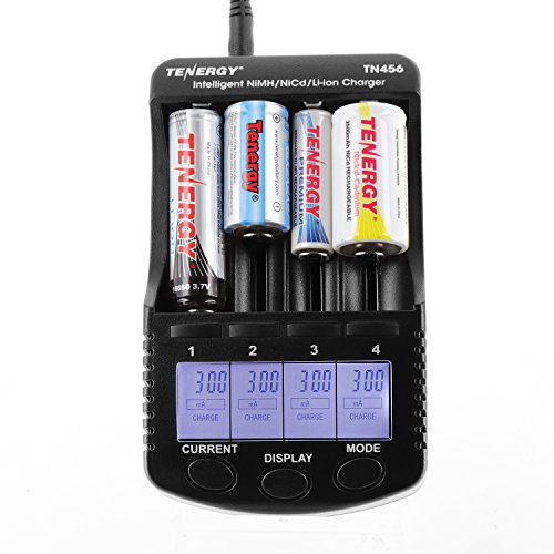 Tenergy TN456 Intelligent Universal Battery Charger with 4 Slots, LCD Display, USB Output, Power Adapter, Rechargeable Battery Charger for Li-ion/NiMH/NiCD Rechargeable Batteries ()