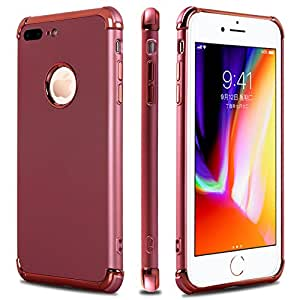 iPhone 7 Plus Case,iPhone 8 Plus Case,Casegory 3 in 1 Ultra Thin Slim Fit Reinforced Corner Soft Silicone TPU Shockproof Protective Bumper iPhone 7 Plus Phone Case- Rose Gold
