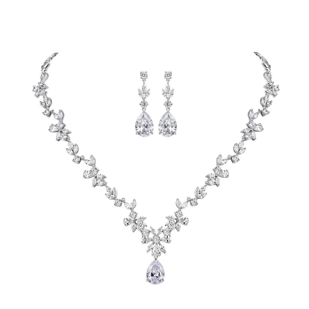 b17384e28 MASOP Cluster Leaf Necklace Earrings Bridal Set AAA Cubic Zirconia Teardrop  Pendant,Jewellery Set for Wedding,Events,Party: Amazon.co.uk: Jewellery