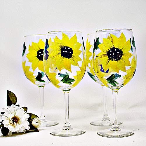 Amazon Sunflower Gift Idea Sunflower Wine Glasses Set Of 4