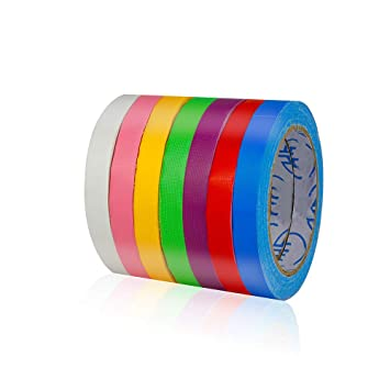 FBA Delivery 0.5 in x 60 ft Small TSAUTO 7 Pack Bright UV Blacklight Reactive Neon Color Tape Rainbow Color Craft Paper Tape Colored Masking Fixed Tape 60ft per roll for Art Lab Kids DIY Art
