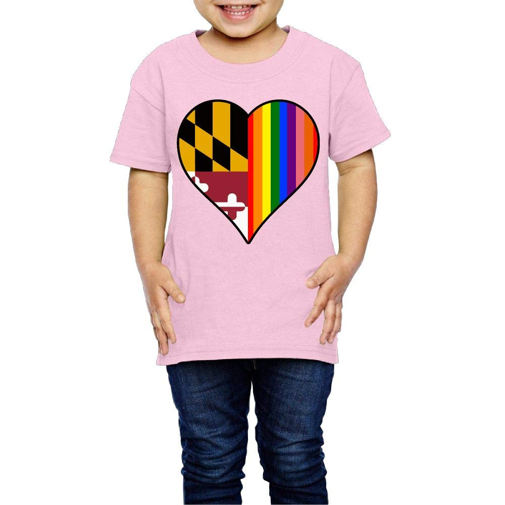 XYMYFC-E Maryland State Flag Heart and Rainbow 2-6 Years Old Kids Short Sleeve T Shirts