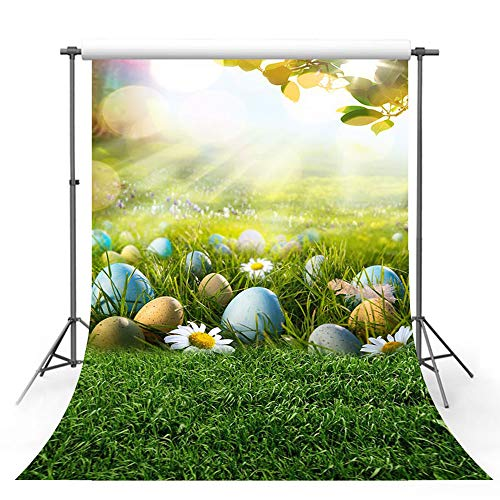 MEHOFOTO Spring Sunshine Photography Backdrop Props Happy Easter Green Grass Lawn Colorful Eggs Child Photo Studio Booth Background 5x7ft]()