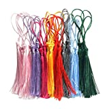 Homyl 30 Pieces Mixed Color Floss Bookmark Tassels Classic Assortment with Cord Loops for Handmade Jewelry Making Findings