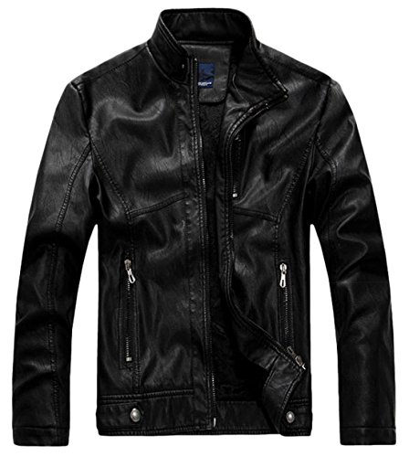 Quality Motor - chouyatou Men's Vintage Stand Collar Pu Leather Jacket (XX-Large, RZQM888-Black)