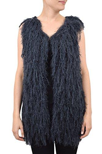 QED–para mujer de largo Hairy Chaleco–Textura Suave Shaggy––Cierre de Gancho y Ojo acrílico & poliéster gris