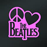 Peace Love The Beatles Vinyl Decal Sticker | Cars Trucks Vans Walls Laptops Cups | Pink | 5.5 X 5.3 Inch | KCD1635P