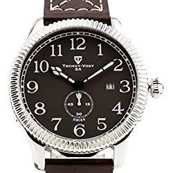 Tschuy-Vogt A24 Cavalier Mens Watch - Brown Leather Strap, Silver Case, Gray Dial