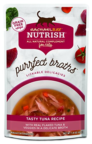 Rachael Ray Nutrish Purrfect Broths All Natural Wet Food Complement For Cats, Grain Free Tasty Tuna Recipe, 1.4 Oz. Pouch (Pack Of 24)