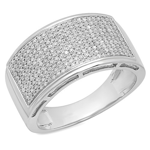 0.65 Carat (ctw) 10K White Gold Round Diamond Men's Flashy Micropave Hip Hop Pinky Ring (Size 11) by DazzlingRock Collection