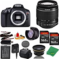 Great Value Bundle for T6 DSLR – 18-55mm STM + 2PCS 16GB Memory + Wide Angle + Telephoto Lens + Case