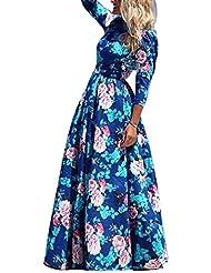 Ninimour Women's Full Length Flower Print Elegant Bohemian Maxi Dress
