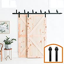 HomeDeco Hardware Rustic 5/6/7.5/8/10 FT Bypass Door Hardware Sliding Steel Track For Double Wooden Doors (6FT Bypass System)