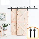 HomeDeco Hardware 5 FT Rustic Bypass Door Hardware Sliding Steel Track For Double Wooden Doors