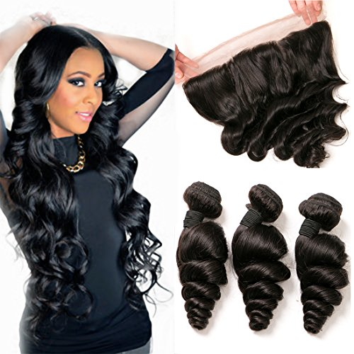 Brazilian Loose Wave Frontal With Bundles 13X4 Free Part Pre Plucked Closure With Baby Hair Real Human Hair 3 Bundles Sew In Hair Extensions On Sale Mixed Length Dark Brown 16 18 20 +12 Inch