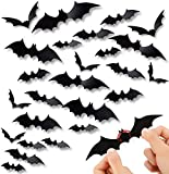 60PCS Halloween 3D Bats Decoration, DIY Scary Wall Bats Wall Decal Wall Stickers 4 Different Sizes Realistic PVC Scary…