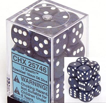 12 Earth Speckled 16mm d6 Chessex Dice Sets