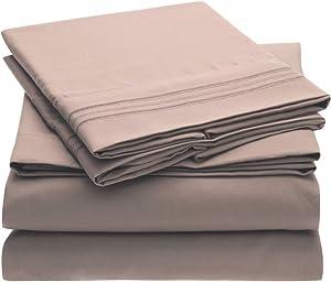 Mellanni Bed Sheet Set - Brushed Microfiber 1800 Bedding - Wrinkle, Fade, Stain Resistant - 4 Piece (Full, Tan)